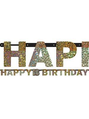 FAIXA 18 HAPPY BIRTHDAY DOURADA E PRETO