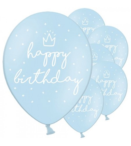 BALÃO LATEX HAPPY BIRTHDAY AZUL PASTEL 12""