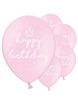 BALÃO LATEX HAPPY BIRTHDAY  ROSA PASTEL 11""